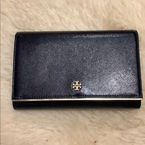Tory Burch Robinson Wallet on Chain navy